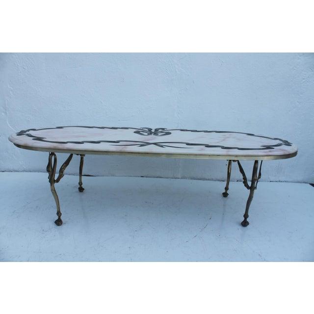 Italian Swan Leg Oval Marble Top Coffee Table Chairish