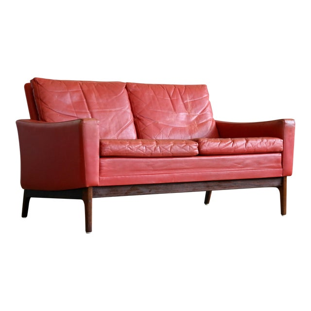 Classic Danish Mid-Century Modern Sofa in Red Leather and Rosewood Base For Sale