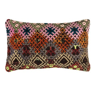 "Chromatic Kilim Lumbar Pillow 12"" X 20"" For Sale"