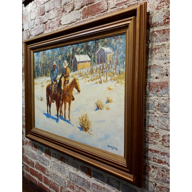 1970s 1970s Oil Painting, Cowboys on Horse by Martin Weekly For Sale - Image 5 of 8