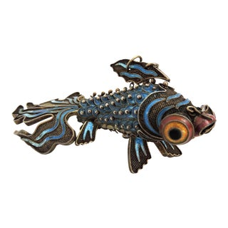 20th Century Antique Chinese Reticulated Blue Enamel Fish For Sale