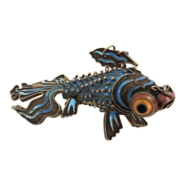 Antique Chinese Reticulated Blue Enamel Silver Goldfish For Sale