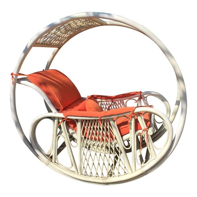 1960s Boho Chic Italian Orange Rattan Rocking Chair For Sale