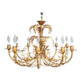 Image of Hollywood Regency Gold Gilded, Faux Bamboo Chandelier Tole, Italy 1950s For Sale