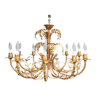Hollywood Regency Gold Gilded, Faux Bamboo Chandelier Tole, Italy 1950s For Sale