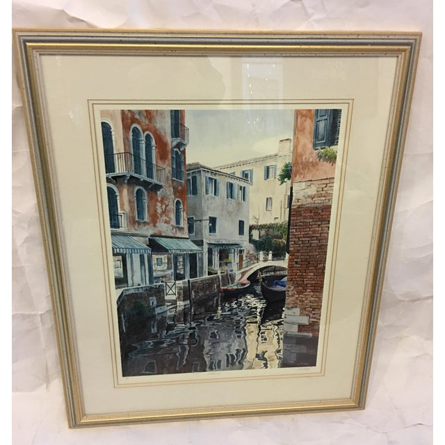 A very beautiful Signed Artist Proof Venetian Scene with a canal and buildings. Fabulous colors. A wonderful art...