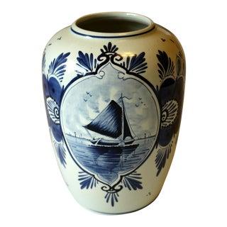 1960s Vintage Showing Sailing Ship Delft Vase For Sale