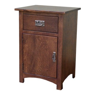 Crafters and Weavers Mission Quarter Sawn Oak 1 Door, 1 Drawer Walnut Nightstand For Sale