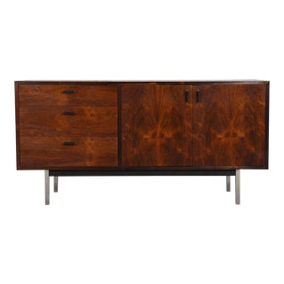 Stunning Grain -- Harvey Probber Rosewood Credenza with Chrome Legs For Sale