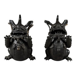 18th Century Vintage Chinese Bronze Incense Burner Temple Beasts Statues- A Pair For Sale