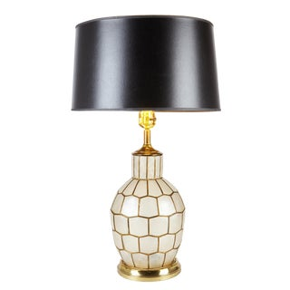 Mid-Century Capiz Lamp With Glow Light For Sale