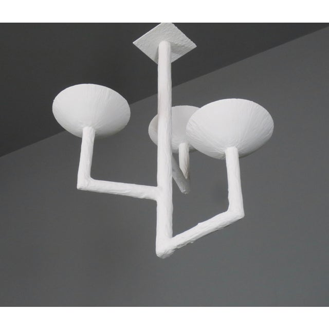 Gold 3 Cup Plaster Chandelier With White Finish For Sale - Image 8 of 9