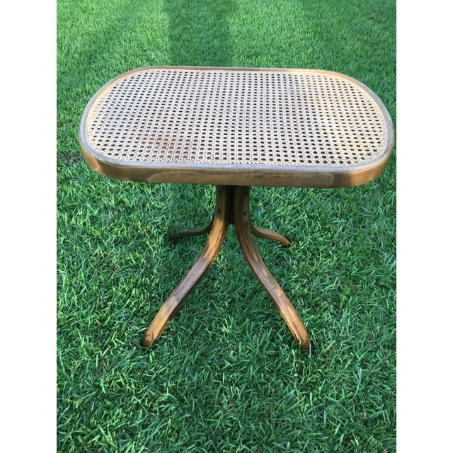 1970s 1970s Thonet Style Vintage Bentwood Rattan Side Table For Sale - Image 5 of 5