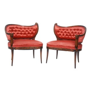 French Style Mahogany Occassional Chairs - a Pair For Sale