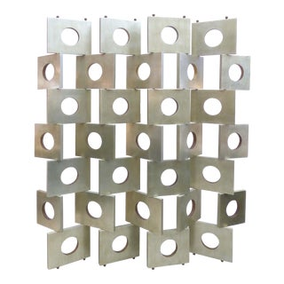 Eileen Gray Style Modernist Room Divider/Screen in Geometric Siver Leaf For Sale
