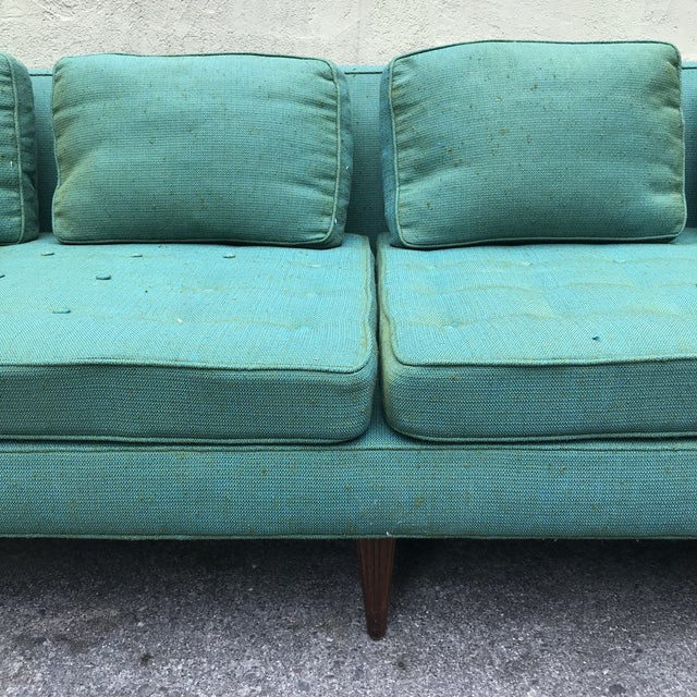 Brass Edward Wormley 4907a Sofa for Dunbar With Knoll Fabric & Rosewood Legs For Sale - Image 7 of 13