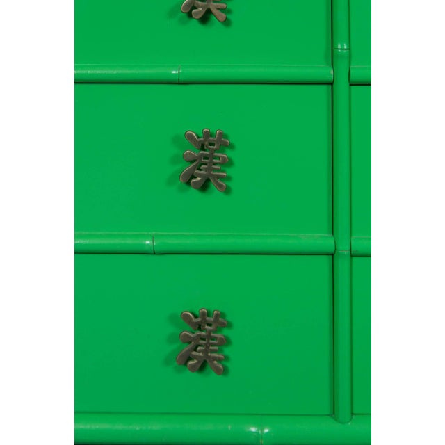 1970s 1970s Chinoiserie Ficks Reed Green Faux Bamboo Credenza For Sale - Image 5 of 9