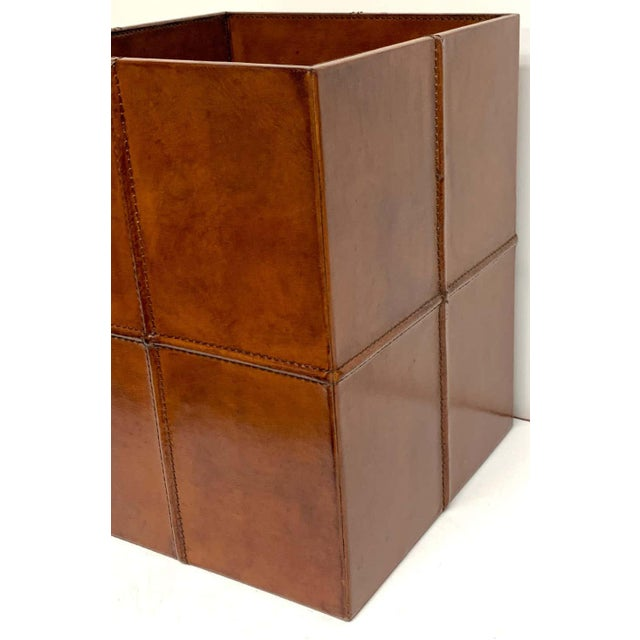 French Modern Stitched Leather Cube Wastepaper Basket For Sale - Image 4 of 9