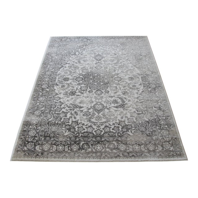 "Distressed Medallion Silver Gray Rug - 8' x 10'7"" - Image 1 of 8"