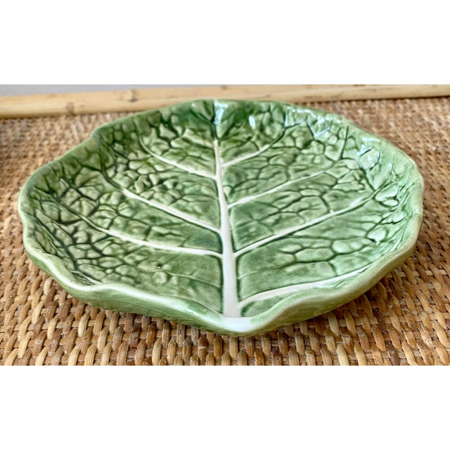 Traditional Mid 20th Century Green Cabbage Leaf Plates Portugal - Set of 6 For Sale - Image 3 of 13