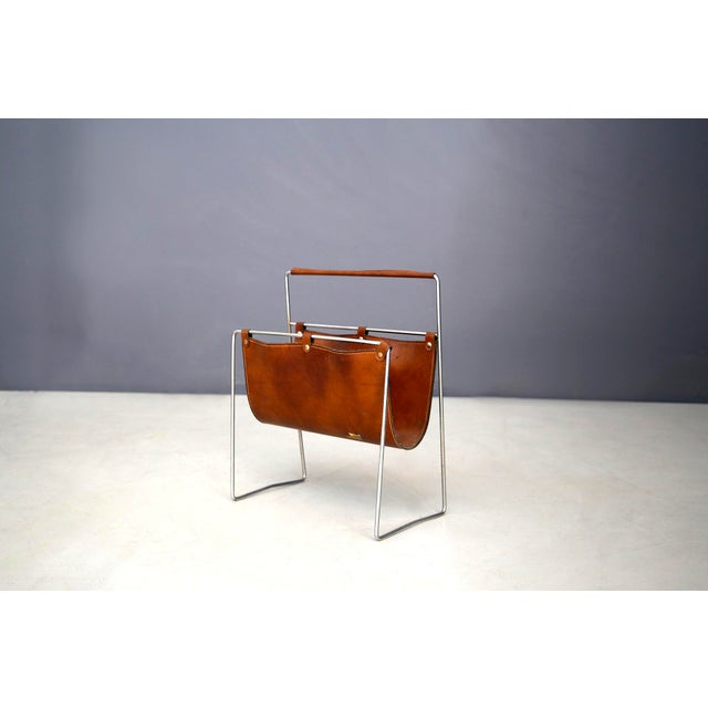 Carl Auböck II MidCentury Magazine Holder in Leather and Steel, 1950's For Sale - Image 11 of 11