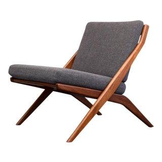 Folke Ohlsson for Dux Teak & Wool Restored 'Scissor' Lounge Chair