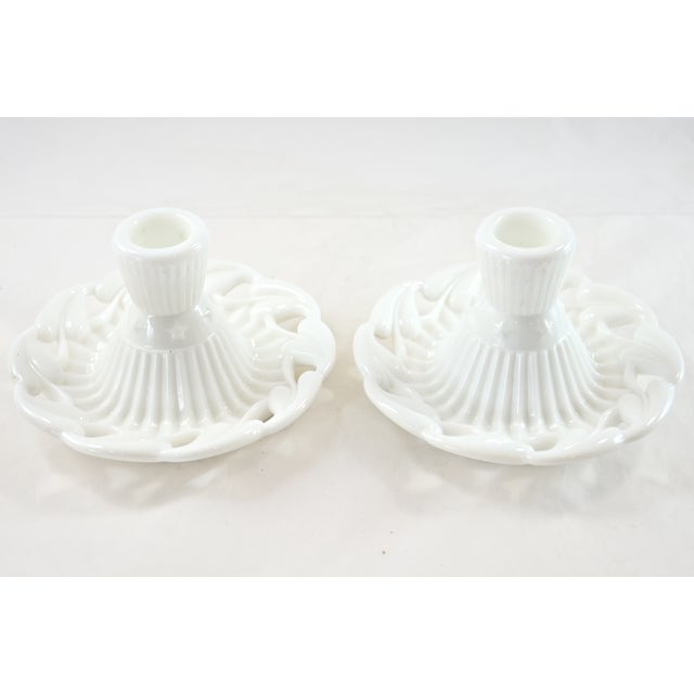 1950s Fostoria Open Work White Candleholders - a Pair - Image 3 of 4