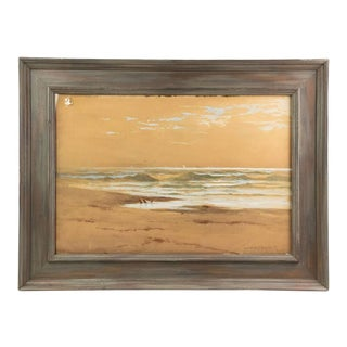 Late 19th Century Coastal Watercolor Painting by Melbourne H. Hardwick, Framed For Sale