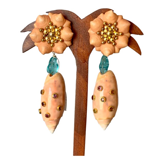 Pink Olive Shell, Apatite Earrings For Sale