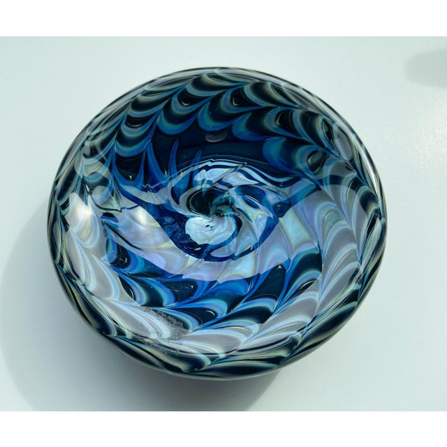 1980's Iridescent Art Glass Dish, signed on the back! Shades of blue and green glass.