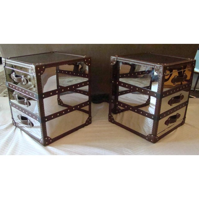 Traditional Steamer Trunk Style 3 Drawer Cube Nightstands - Pair For Sale - Image 3 of 9