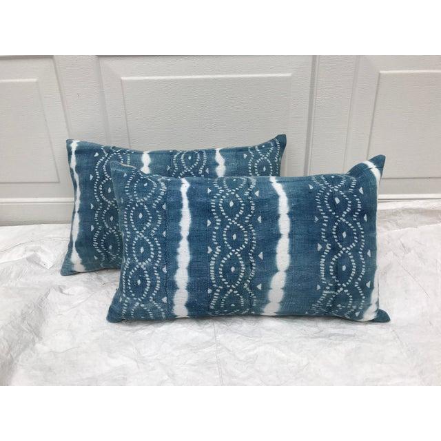 African Indigo Faded Tye-Dye Fringe Pillows - A Pair - Image 2 of 10