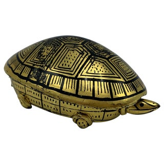 1970s Black and Gold Lacquered Turtle Box For Sale