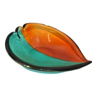 Italian Blown Murano Glass Orange & Green Art Glass Heart Bowl, Catchall 1970 For Sale