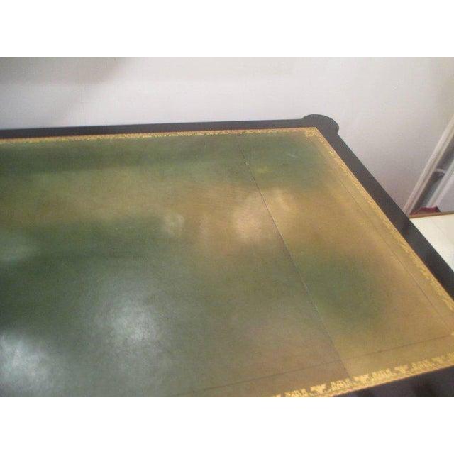 Brass French Directoire-Style Ebonized Bureau Plat Desk For Sale - Image 7 of 8