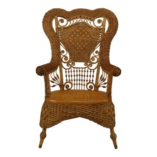 American Victorian Wicker Ornate Arm Chair For Sale
