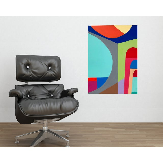 This is an original abstract artwork on gallery canvas. Graphic mid-century inspired painting. Bold composition. Add a...