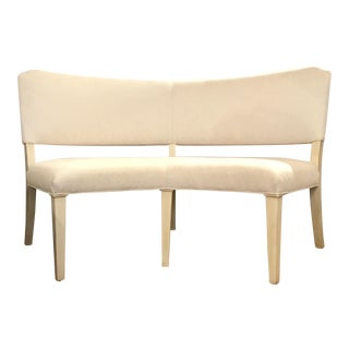 Modern Drexel Heritage Curved White Linen Blend Dining Bench For Sale