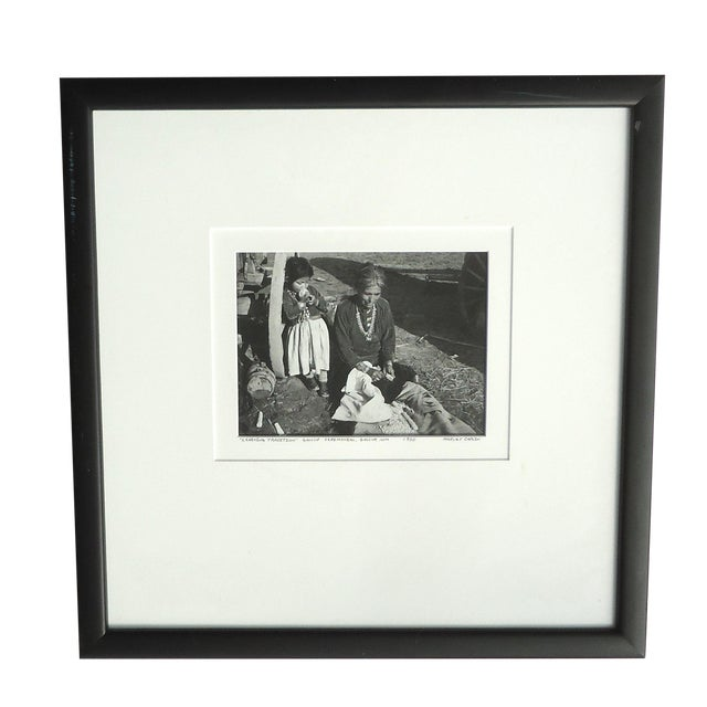 """1950s Native American Photograph, """"Learning Tradition"""" by Harvey Caplin For Sale"""