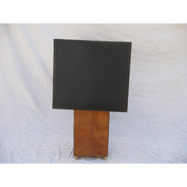 Jean Royere Attributed Leather Patch Lamp - Image 2 of 8