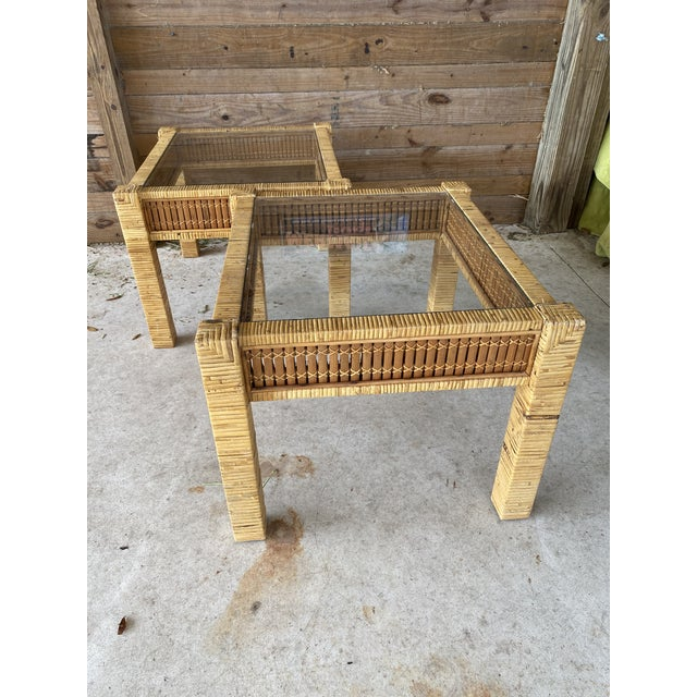 Vintage Wicker Wrapped Bamboo Insert Side Tables - a Pair For Sale - Image 13 of 13