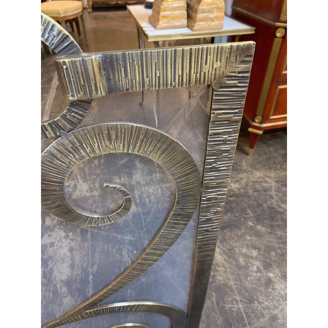 Early 21st Century Custom Steel Fire Place Screen in Gilded Black Finish For Sale - Image 5 of 6
