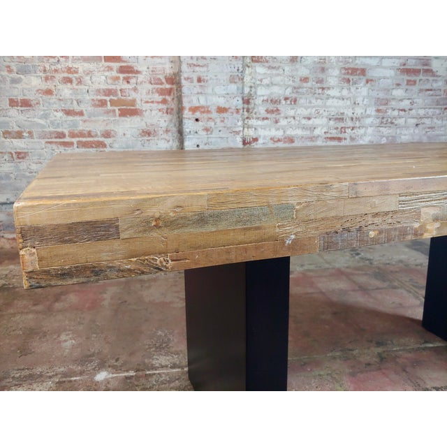 Vintage Butcher Block Style Dining Table W/Ebonized Base For Sale In Los Angeles - Image 6 of 10