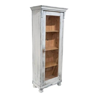 18th Century Swedish Painted & Distressed Shelving Display Cabinet For Sale