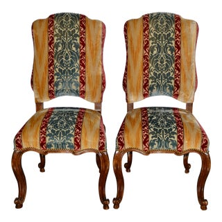 Minton Spidell Carved & Upholstered Side Chairs - a Pair For Sale