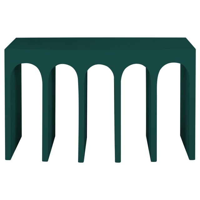 Minimalist Curved Front Console With Arches in Hedge Green by Martin and Brockett For Sale In Los Angeles - Image 6 of 6