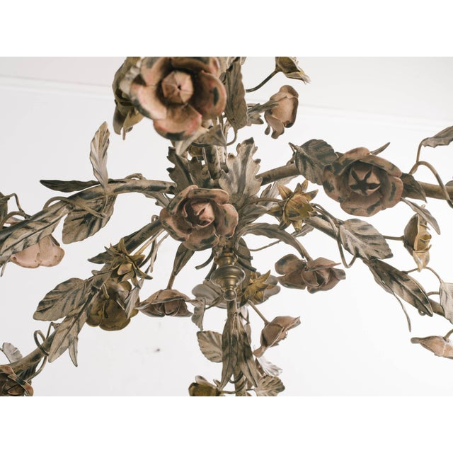 1960s Italian Tole Floral Chandelier For Sale In New York - Image 6 of 9