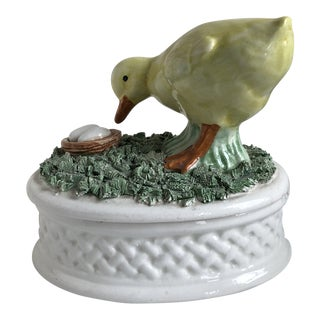 Vintage Ceramic Italian Duck Trinket Box For Sale