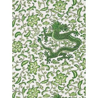 Scalamandre Chi'En Dragon Linen Print, Jade Fabric Preview