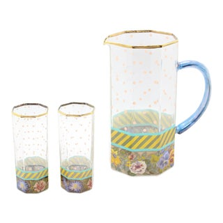 Vintage MacKenzie Childs New York Floral Pitcher & Glassware - Set of 3 For Sale